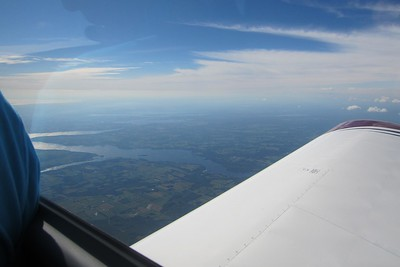 Flying toward Niagara Falls over the Niagara peninsula.