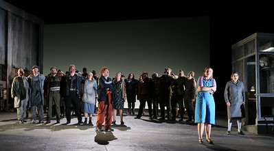 ENO Jenufa Nicky Spence, ENO Chorus, Peter Hoare, Laura Wilde and Valerie Reid (c) Donald Cooper