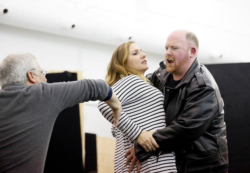 ENO Jenufa Rehearsal David Alden, Laura Wilde, Nicky Spence (c) Donald Cooper