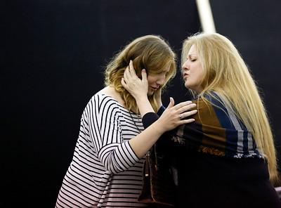 ENO Jenufa Rehearsall Laura Wilde and Michaela Martens (c) Donald Cooper