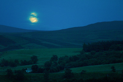 Moon rising over a Speyside glenGlenlivet, Ballindalloch, Scotland9.24.2004