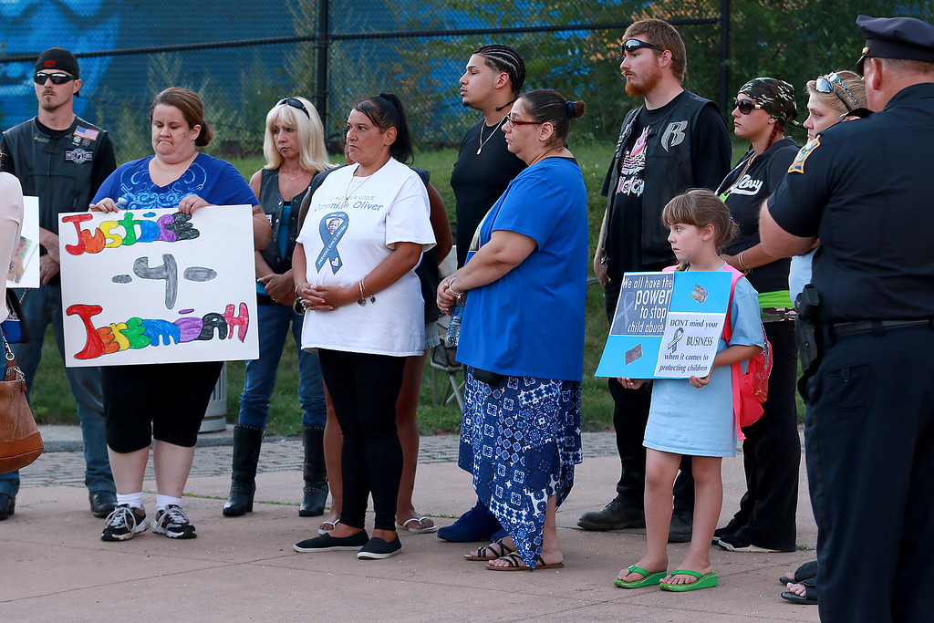 . A rally for Jeremiah Oliver and  child abuse was held at Riverside Park on Friday night, August 11, 2017 in Fitchburg. SENTINEL & ENTERPRISE/JOHN LOVE