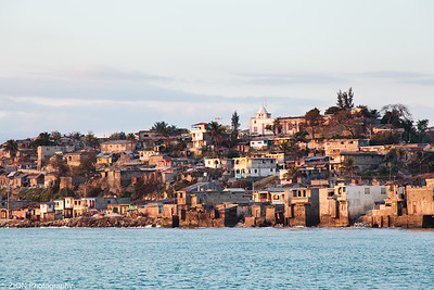 Looking at the town of Jeremie, Haiti from the pier