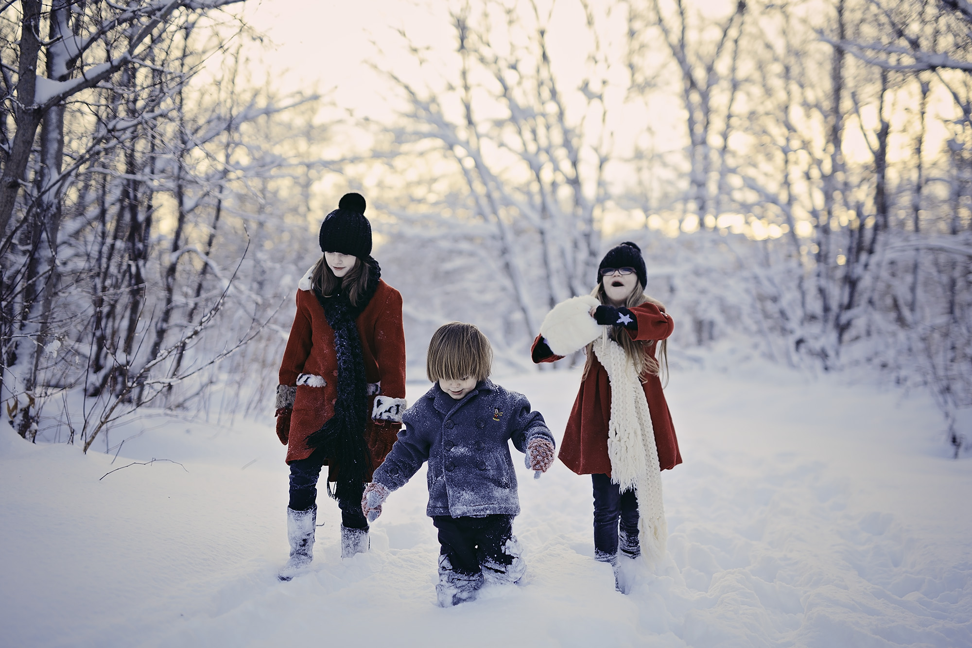 Kids walking in snow