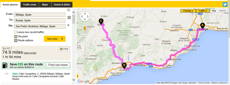 Malaga to Ronda a few days in the area