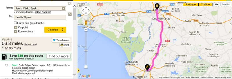 Jerez to Seville short hop