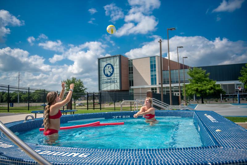 M21086- Campus Rec Pool, Lifeguards playing-1062