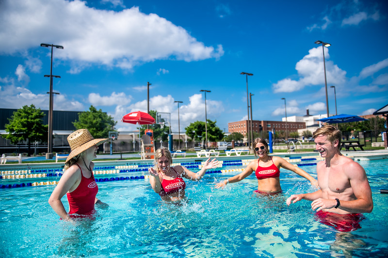 M21086- Campus Rec Pool, Lifeguards playing-1222
