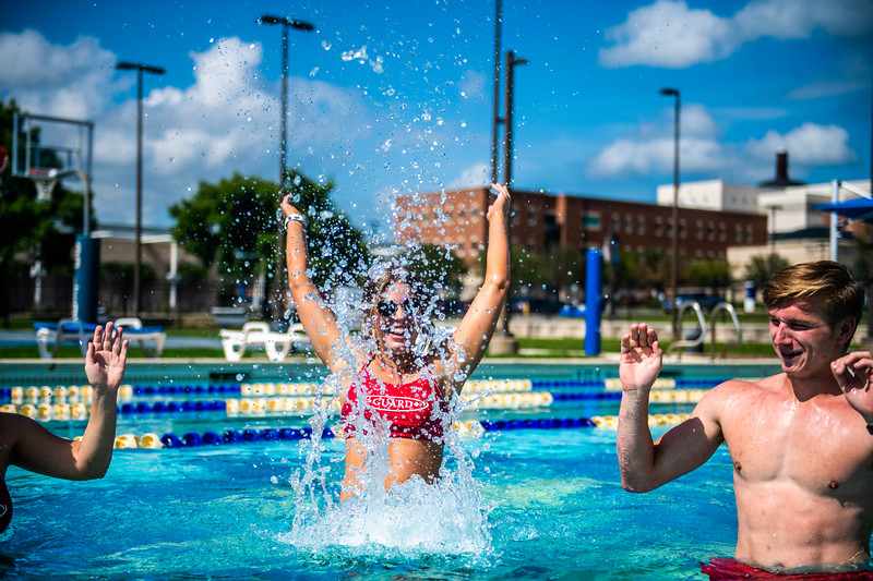 M21086- Campus Rec Pool, Lifeguards playing-1250