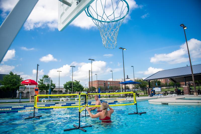 M21086- Campus Rec Pool, Lifeguards playing-1103