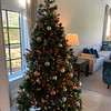 The great room includes a stunning Christmas tree.