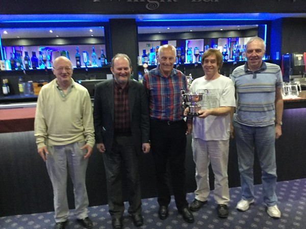 2017 Festival - Swiss Teams winners: Mike Walsh, Andrew Thompson, (Norman Le Cocq CICBA Chairman )Mike Bull & Graham Horscroft