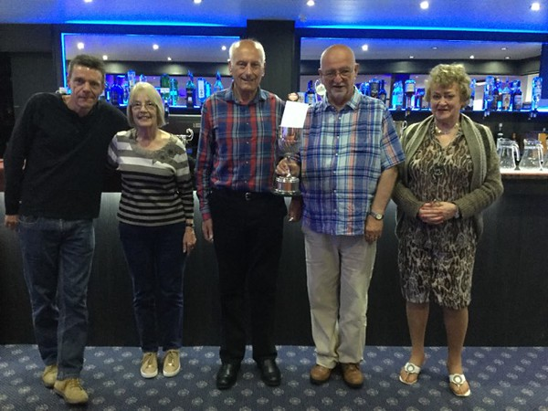 2017 Festival - Shell Trophy for best CI Team in Swiss Teams.Chris Hill, Jane Knight, (Norman Le Cocq CICBA Chairman ), Howard Basden-Smith and Sue Rankin.