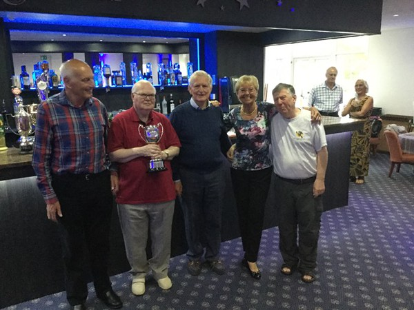 2017 Festival - Seniors Teams winners:  Alan Cooke, Brian Stairs, Maureen Stairs, & Gary Hyett (with Norman Le Cocq CICBA Chairman )