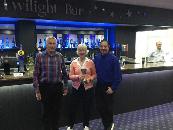 2017 Festival - Pre-Congress Pairs: Kathy Talbot & Denis Talbot (with Norman Le Cocq CICBA Chairman )