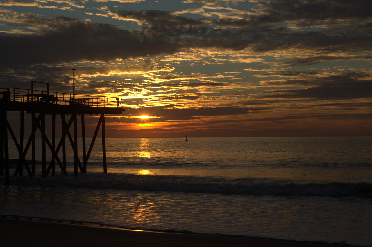 After the Hurricane, Belmar Fishing Pier September 1 2011 Photo fo the Belmar Fishing Pier at sun rise