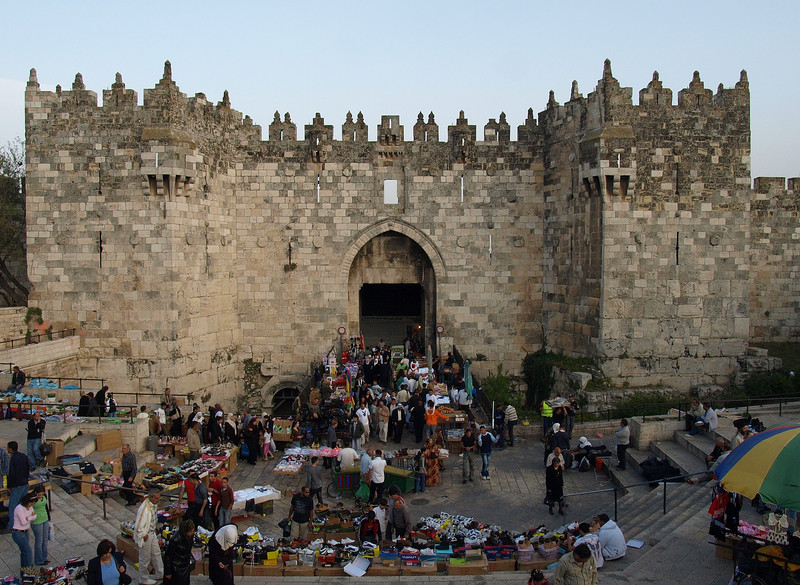 Damascus Gate; the entrance to the Muslim Quarter of the Old City and a very busy market area on the weekends.