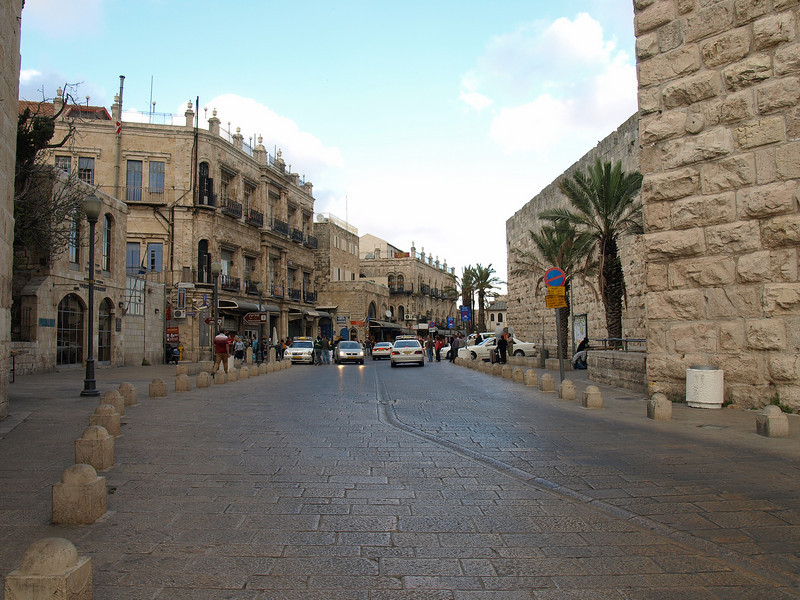 Jaffa Gate vehicle access.  The Ottomans opened the wall in 1898 so that Kaiser Wilhelm of Germany could enter the city without dismounting from his carriage.