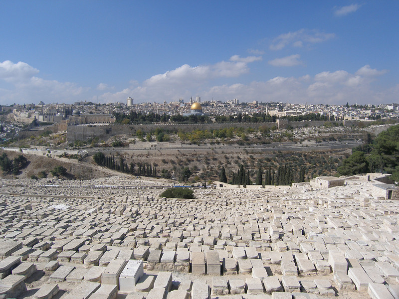 Jewish cemetery on the Mount of Olives in the foreground and Old City in the background
