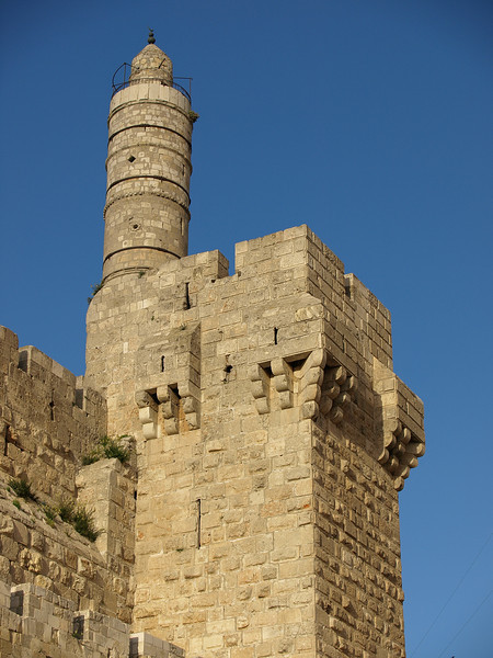 The tower of the Citadel of Jerusalem, also known as the Tower of David; actually constructed by Herod in 37-34 BCE.  The Ottoman Turks added a mosque and minaret (the rounded tower from which the Muslim faithful are called to pray).