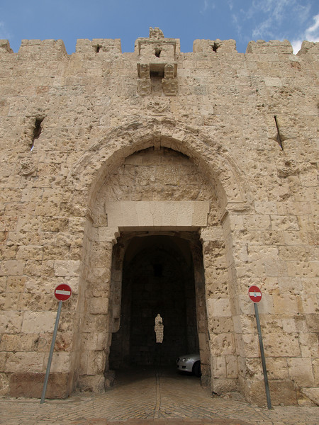 Zion Gate, leading to the Armenian and Jewish Quarters of the Old City.  The wall still bears the marks from the Arab-Israeli war of 1948, when Jewish forces tried unsuccessfully to gain control of the Jewish Quarter.
