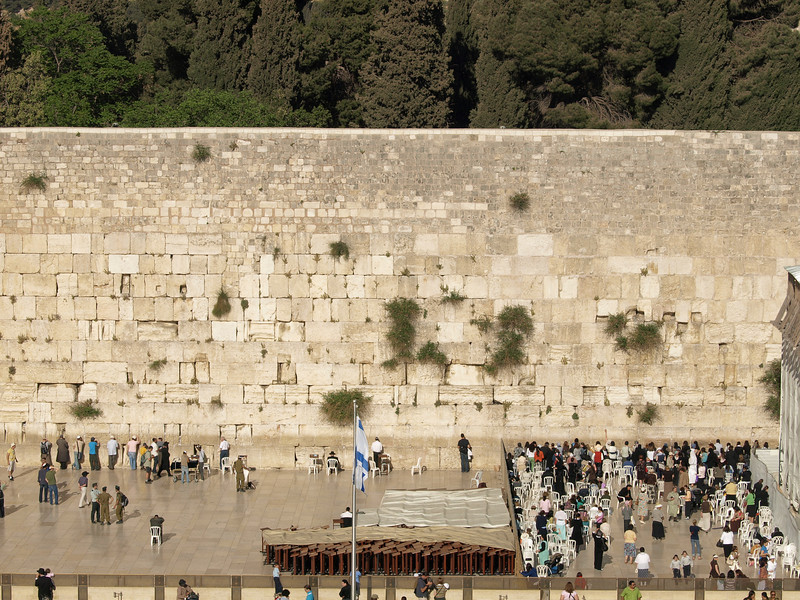 Western Wall.  The plaza is divided: men pray on the left, women on the right.
