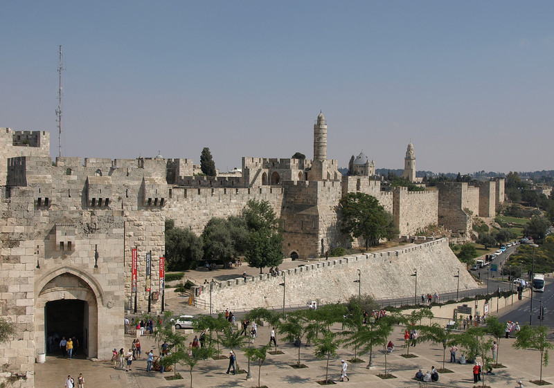 Overview of Jaffa Gate and walls of the Old City
