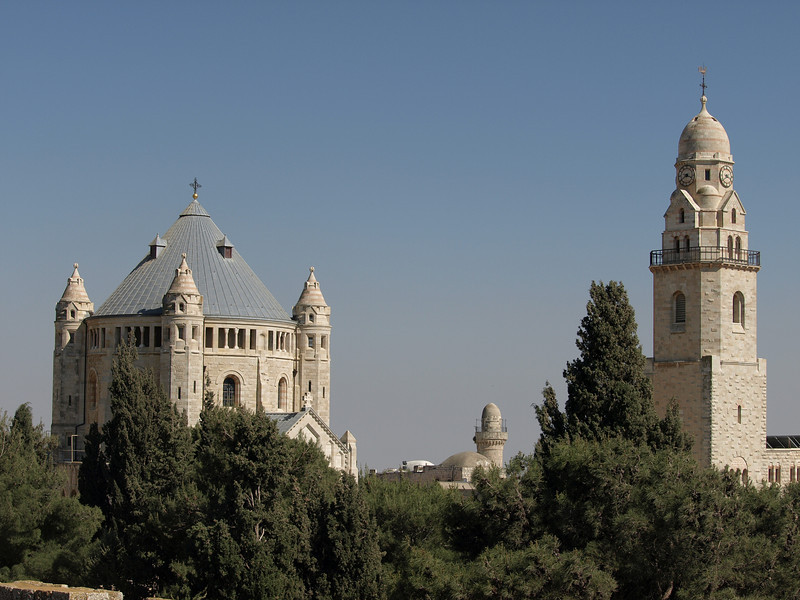 The Dormition Church.  The bell tower was separated from the church so that its shadow would not fall on the traditional site of the tomb of David, holy to Jews and Muslims.