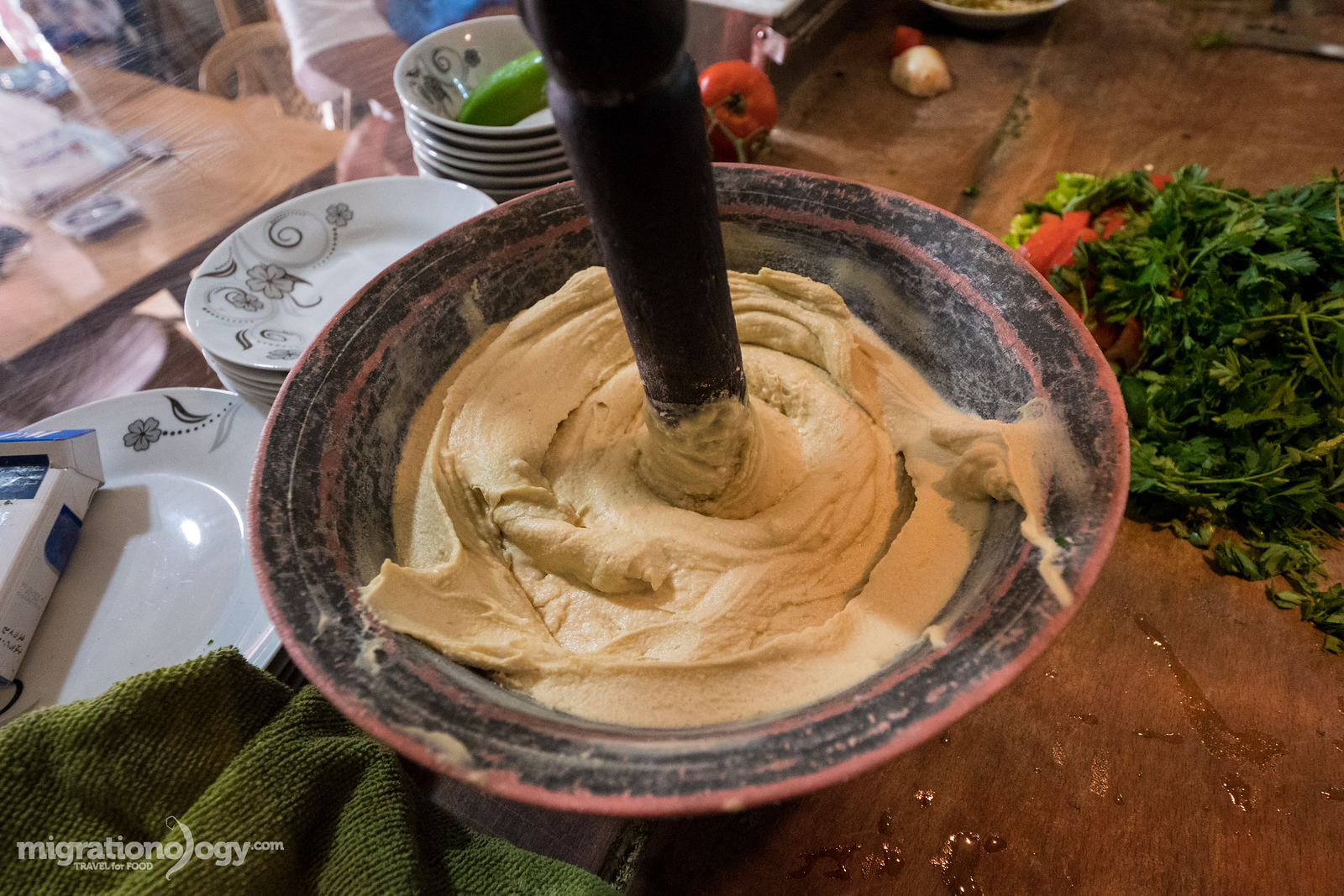 Home-made hummus in Jerusalem