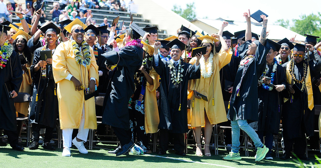 . VALLEJO, CA - JUNE 8, Graduates celebrate the completion of high school during the Jesse Bethel High School graduation on Friday. (CHRIS RILEY/TIMES-HERALD)
