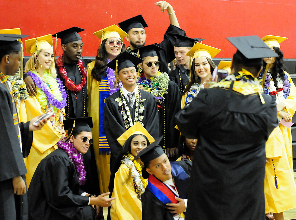 . VALLEJO, CA - JUNE 8, Graduates take a group photo before the Jesse Bethel High School graduation on Friday. (CHRIS RILEY/TIMES-HERALD)
