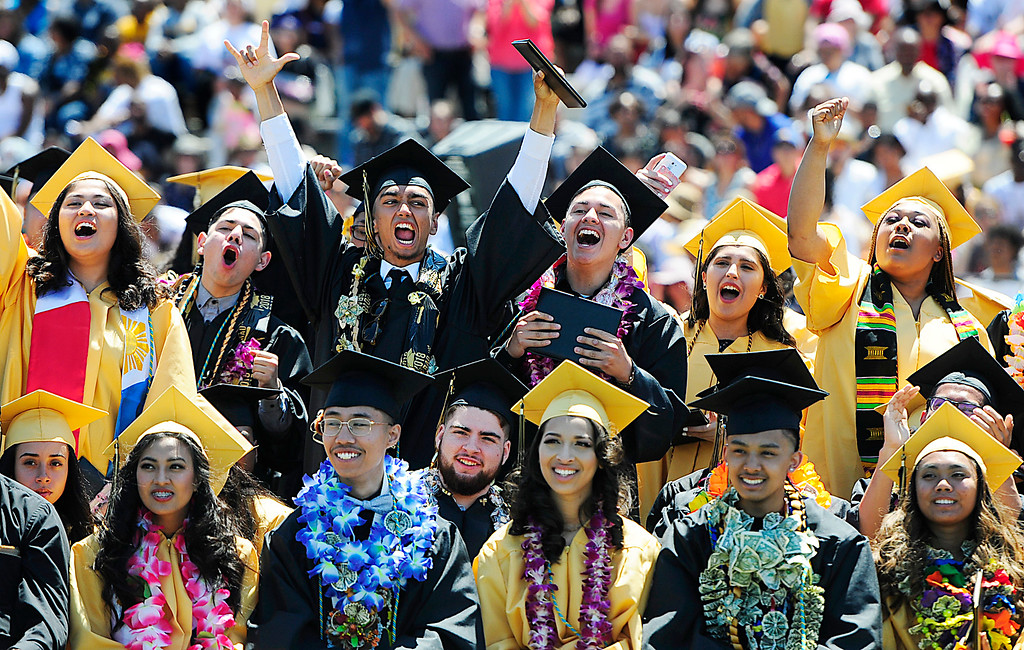 . (Chris Riley/Times-Herald) Seniors cheer for their friends as they graduate with the Jesse Bethel High School class of 2018 on Friday at Corbus Field in Vallejo.