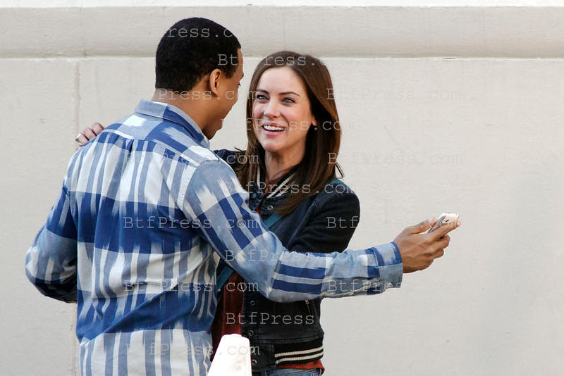 Jessica Stroup and Tristan Stroup during the set of TV Beverly Hills 90210 in Los Angeles,California