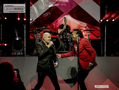 Michael Tait welcomes Peter Furler to the stage on Newsboys United Tour in New Bern NC 4-13-18 by Annette Holloway Photography