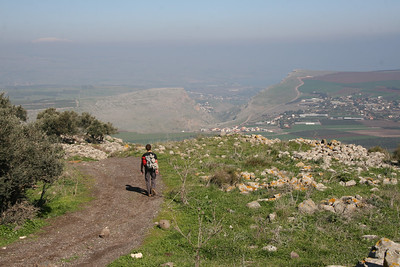 View of Arbel and Mt. Hermon from the Horns of Hattin