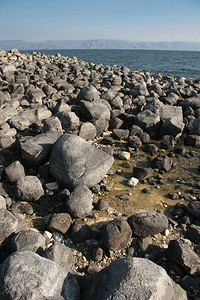 Rocks on the shore of the Sea of Galilee