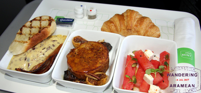 My brunch meal choices on the JetBlue Mint inaugural flight