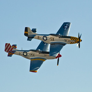P51 Mustangs.   These are two of the roughly 150 Mustangs still flying. During WW iI around 15,000 of them were built at a cost of about $50,000 each. Today it costs about $2,000,000 to keep one flying.
