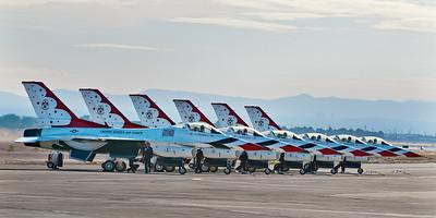 F-16 Thunderbirds.  http://thunderbirds.airforce.com/