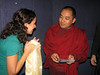 Tara, afater presenting Jetsunma's CDs of mantra music to Chokling Rinpoche