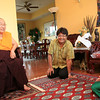 HH Penor Rinpoche, with Paljor and Atira smiling after presenting Jetsunma's gifts to Holiness. by Wib Middleton