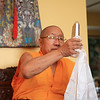HH Penor Rinpoche with crystal gift from Jetsunma, by Wib Middleton
