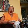 HH Penor Rinpoche with Jetsnnma's CD, by Wib Middleton