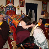 Jetsunma Ahkon Lhamo receiving khatas from the sangha,<br /> Photo by Sonny Carroll
