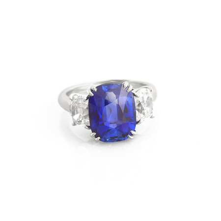 Sapphire Ring with Diamond Side Stones