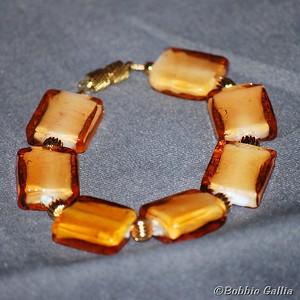 Gold Lampwork Bead Bracelet, B0812-18