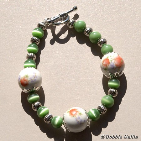 Hand Painted Ceramic Bead Bracelet, B0901-23