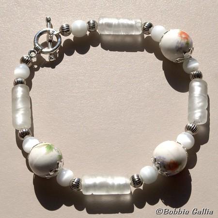 Hand Painted Ceramic Bead Bracelet, B0901-24