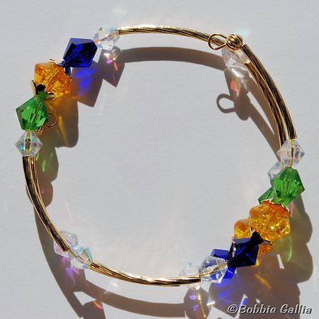 Mardi Gras Wrap Bracelet in Crystal and Gold, B0902-34
