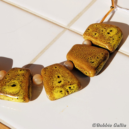 Yellow Ceramic Wedge Necklace, N0812-02